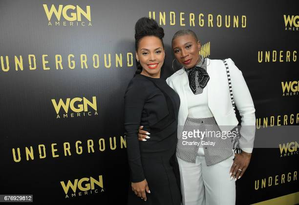 Amirah Vann and Aisha Hinds attend WGN America's Presents 'Underground' Awardsline Screening Series at Landmark Theatre on May 2 2017 in Los Angeles...