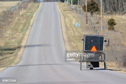 Amish Buggy on Road : Stock Photo