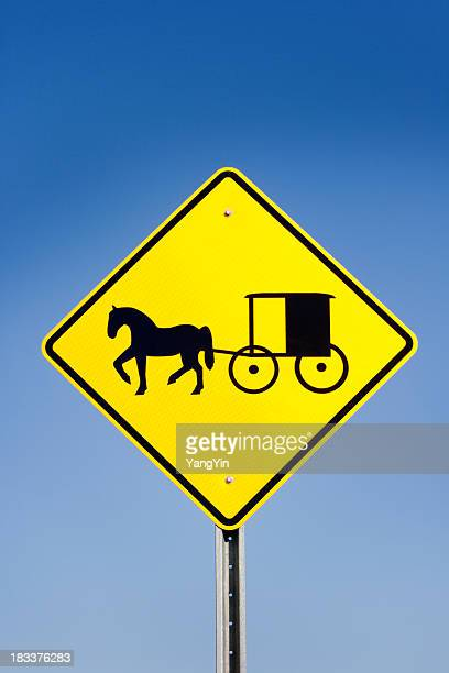Amish Horse and Carriage Yellow Warning Road Sign, Blue Sky