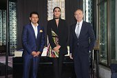 Amit Bhosale MD of ABIL Group Bollywood actor Sonam Kapoor and Gianni Versace Founder of Versace during the launch of luxury residential project of...