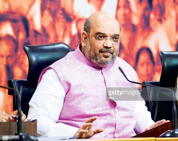 Amit Shah addressing the media on completion of three years of NDA govt in the centre