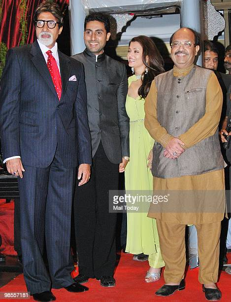 Amitabh Abhishek and Aishwarya Rai Bachchan with Amar Singh at the wedding reception of Laila Khan and Farhan Furniturewala in Mumbai on April 16 2010