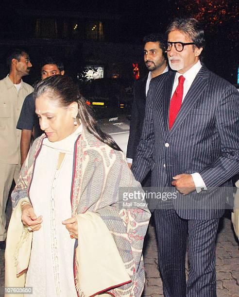 Amitabh and Jaya Bachchan at the wedding anniversary celebrations of Fardeen Natasha Khan in Mumbai on December 14 2010