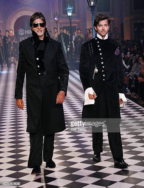 Amitabh Bachchan and Hrithik Roshan at Day II of the HDIL Couture fashion week in Mumbai on October 7 2010
