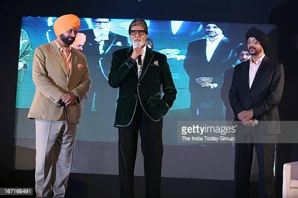 Amitabh Bachchan and Navjot Singh Sidhu during the launch of Navjot Singh Sidhu's website sherryontoppcom in Mumbai on 18th April 2013