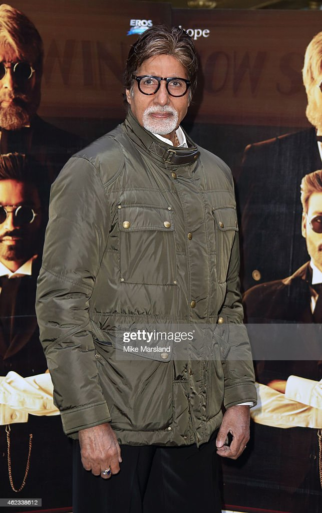 Amitabh Bachchan attends a photocall for 'Shamitabh' at St James Court Hotel on January 27, 2015 in London, England.