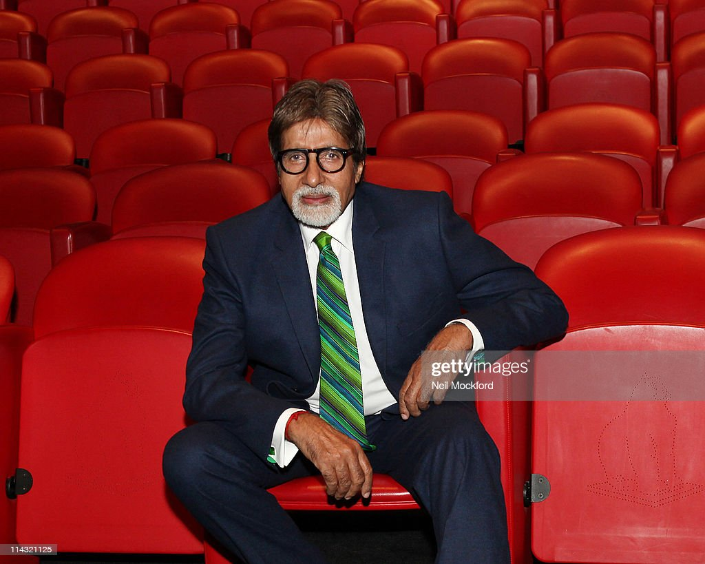 <a gi-track='captionPersonalityLinkClicked' href=/galleries/search?phrase=Amitabh+Bachchan&family=editorial&specificpeople=220394 ng-click='$event.stopPropagation()'>Amitabh Bachchan</a> ,Bollywood legend <a gi-track='captionPersonalityLinkClicked' href=/galleries/search?phrase=Amitabh+Bachchan&family=editorial&specificpeople=220394 ng-click='$event.stopPropagation()'>Amitabh Bachchan</a> who has made over 200 movies launches his UK voice blogging 'vogging' service to connect directly with his fans earlier today at the Soho Hotel, London on May 18, 2011 in London, United Kingdom.