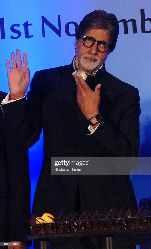 <a gi-track='captionPersonalityLinkClicked' href=/galleries/search?phrase=Amitabh+Bachchan&family=editorial&specificpeople=220394 ng-click='$event.stopPropagation()'>Amitabh Bachchan</a> during a function to confer Aishwarya Rai Bachchan with French Knight of the Order of Arts and Letters for her contribution to the arts on November 1, 2012 in Mumbai, India. She also celebrated also celebrated her 39th birthday.