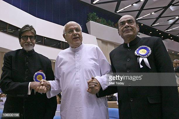 Amitabh Bachchan Farooq Abdullah and D Ramanaidu during the 57th National Film Awards function in New Delhi on October 22 2010