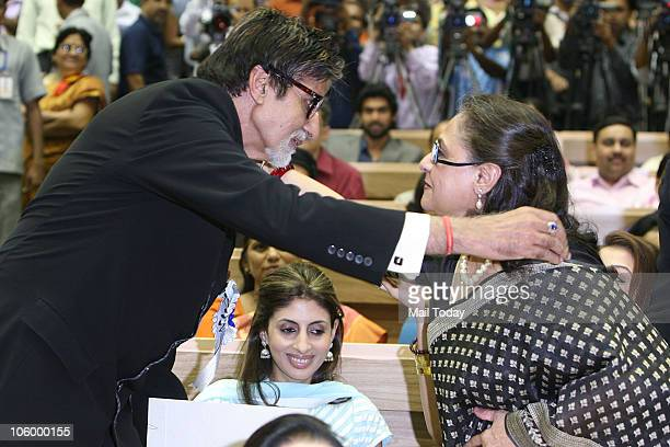 Amitabh Bachchan is congratulated by wife Jaya as Shweta looks on after he won the Best actor National award for 'Paa' during the 57th National Film...