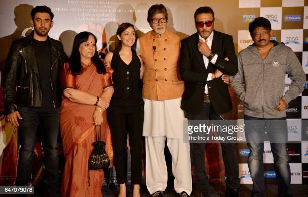 Amitabh Bachchan Jackie Shroff Yami Gautam and Amit Sadh during the trailer launch of film 'Sarkar 3' in Mumbai