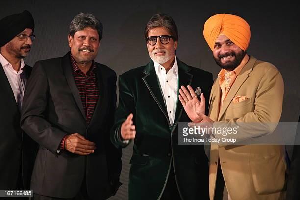 Amitabh Bachchan Kapil Dev and Navjot Singh Sidhu during the launch of Navjot Singh Sidhu's website sherryontoppcom in Mumbai on 18th April 2013