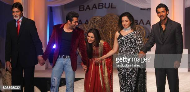 Amitabh Bachchan Salman Khan Rani Mukherjee Hema Malini and John Abraham at the music launch of Baabul