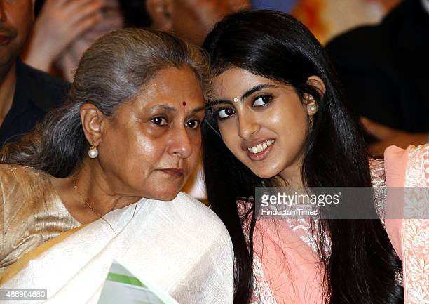 Amitabh Bachchans wife Jaya Bachchan and granddaughter Navya Naveli Nanda during a civil investiture ceremony where Amitabh Bachchan received the...
