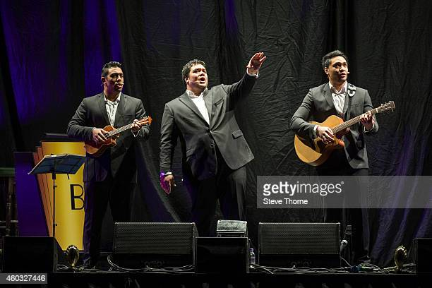 Amitai Pati Pene Pati and Moses Mackay of Sol3 Mio perform on stage at LG Arena on December 11 2014 in Birmingham United Kingdom