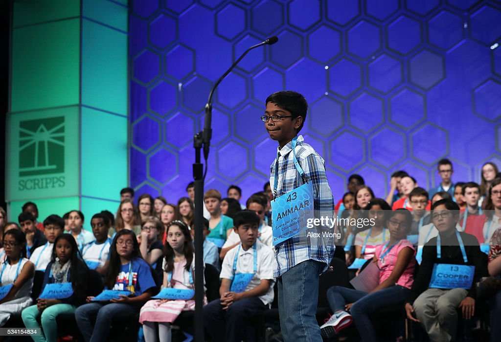Ammaar Mohammed of Tampa, Florida, reacts after he misspelled his word in round two of the 2016 Scripps National Spelling Bee May 25, 2016 in National Harbor, Maryland. Students from across the country gathered to compete for top honor of the annual spelling championship.