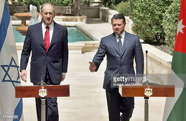 Jordan's King Abdullah II and Israeli Prime Minister Ehud Olmert hold a joint news conference at Raghdan Palace in Amman 08 June 2006 The Jordanian...