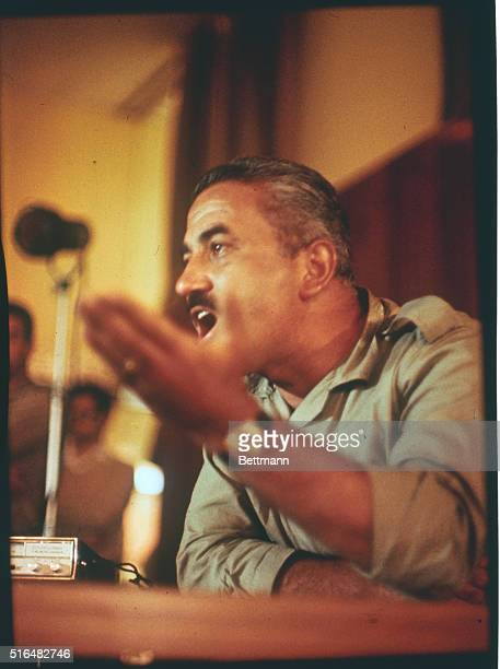 Leader of the Popular Front for the Liberation of Palestine Dr George Habash deliberates at a press conference at the Intercontinental Hotel At the...