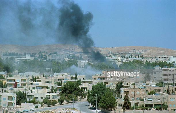 Smoke billows across Amman at the height of the fighting between the Jordanian Army troops and the Palestinian guerrillas The picture was made from a...