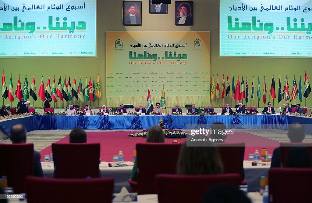 Ammar alHakim President of the Islamic Supreme hosts the interfaith dialogue panel at the Islamic Supreme council headquarters in Baghdad Iraq on...