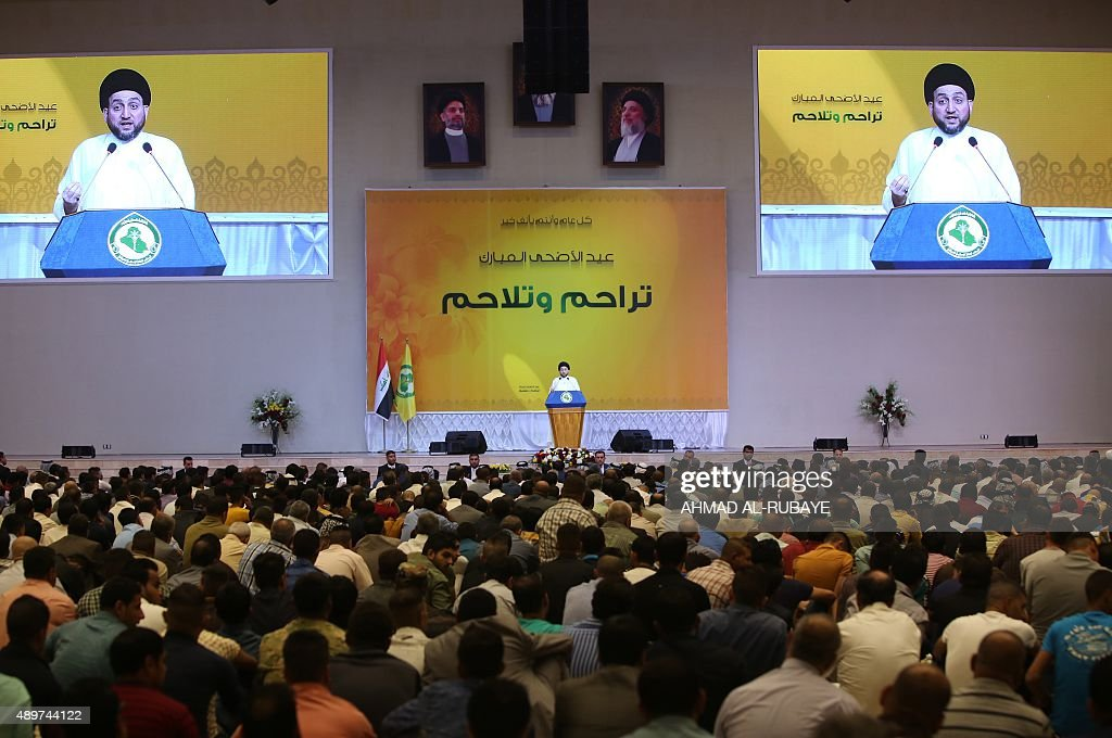 Ammar alHakim the leader of Iraq's Shiite Muslim Supreme Iraqi Islamic Council leads the Eid alAdha prayer at his headquarters in Baghdad on...