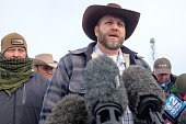 Ammon Bundy speaks to the media as the leader of a group of armed antigovernment protesters who have taken over the Malheur National Wildlife Refuge...