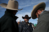 Ammon Bundy the leader of an antigovernment militia talks with supporters in front of the Malheur National Wildlife Refuge Headquarters on January 6...