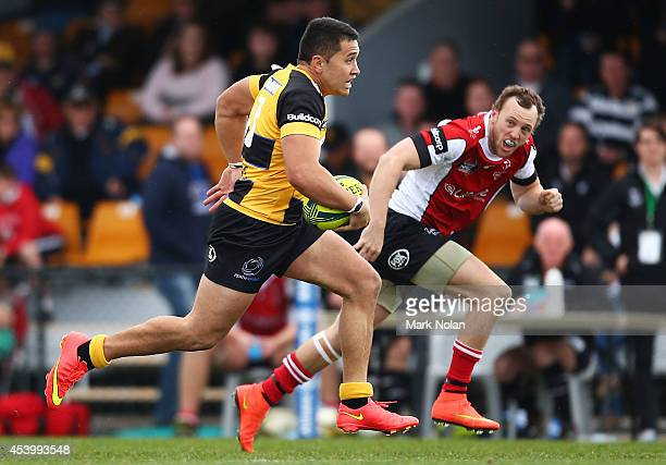 Ammon Matuauto of the Spirit makes a line break to score the winning try during the round one National Rugby Championship match between the Canberra...