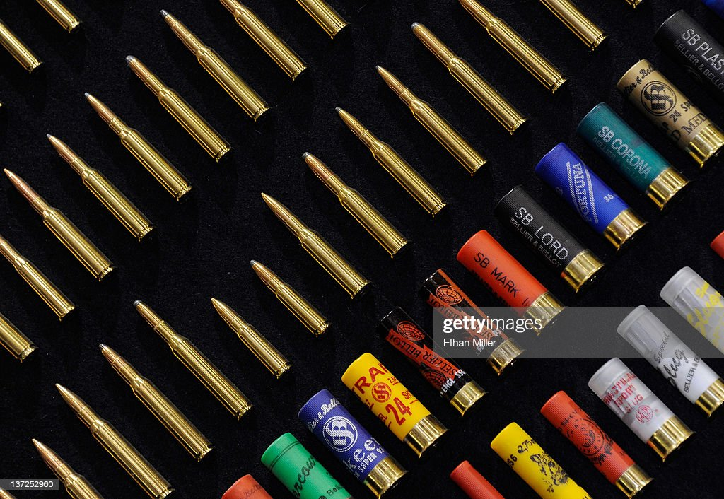 Ammunition is displayed at the Magtech booth at the National Shooting Sports Foundation's 34th annual Shooting Hunting Outdoor Trade Show at the...