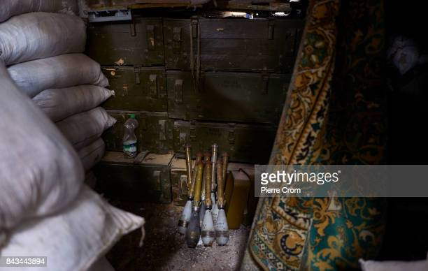 Ammunitions are seen in a bunker on an industrial zone named the 'Prom Zone' located on the frontline on September 06 2017 in Avdiivka Ukraine The...