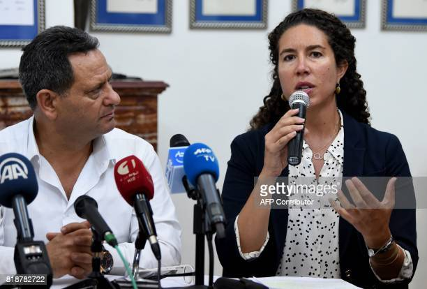 Amnesty International North African Research Director Heba Morayef speaks during a press conference with the president of the union of Tunisian...