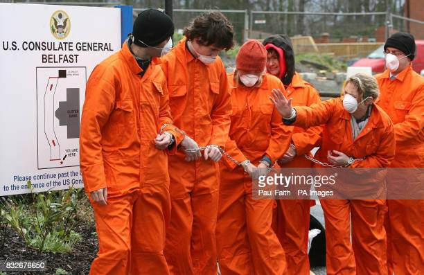 Amnesty International protestors gather at the US Consulate in Belfast to mark the fifth anniversary of the opening of the Guantanamo Bay detention...