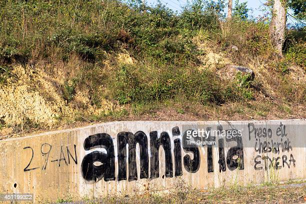 Amnistia banner at Zubialde promoting Amnesty after 29 years of protests in Biskaia Basque region Spain