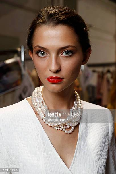 AModel Fata Hasanovic is seen backstage ahead of the Thomas Rath show during Platform Fashion July 2016 at Areal Boehler on July 24 2016 in...