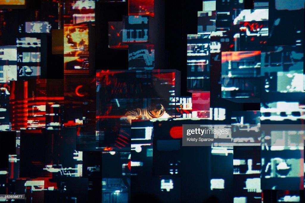 Amon Tobin preforms ISAM live onstage for the last performance after the world tour at the Grande Halle De La Villette on March 13, 2013 in Paris, France.