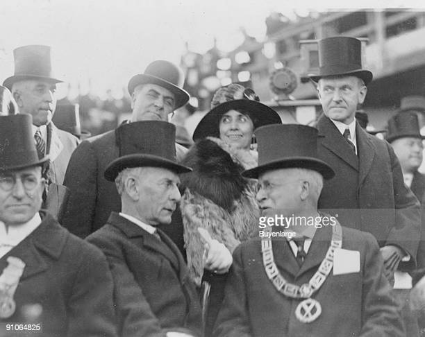 Among other unnamed diginitaries US Preseident Calvin Coolidge and his wife First Lady Grace Coolidge attend the groundbreaking ceremony for the...