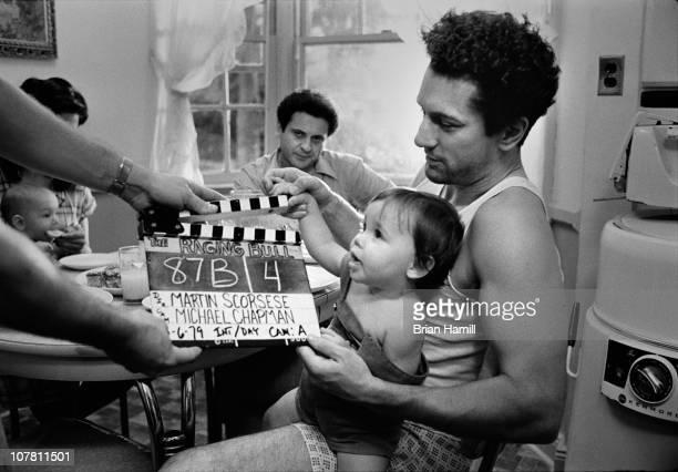 Among others American actors Robert De Niro as boxer Jake La Motta and Joe Pesci as Joey La Motta prepare for a scene from the Martin...