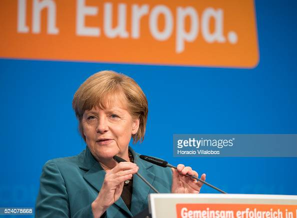 Among prominent support and good humor German Chancellor Angela Merkel kicks off CDU European election campaign in Frankfurt Germany 30 April 2014 in...
