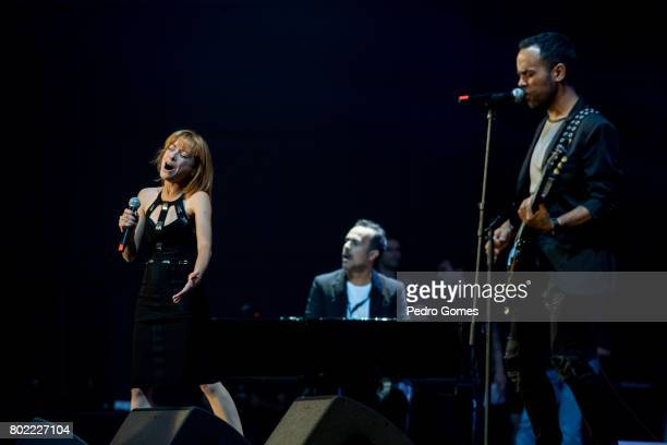 Amor Electro perform during Juntos por Todos solidarity concert for the victims of the forest fires in the Pedrogao Grande region of Portugal on June...