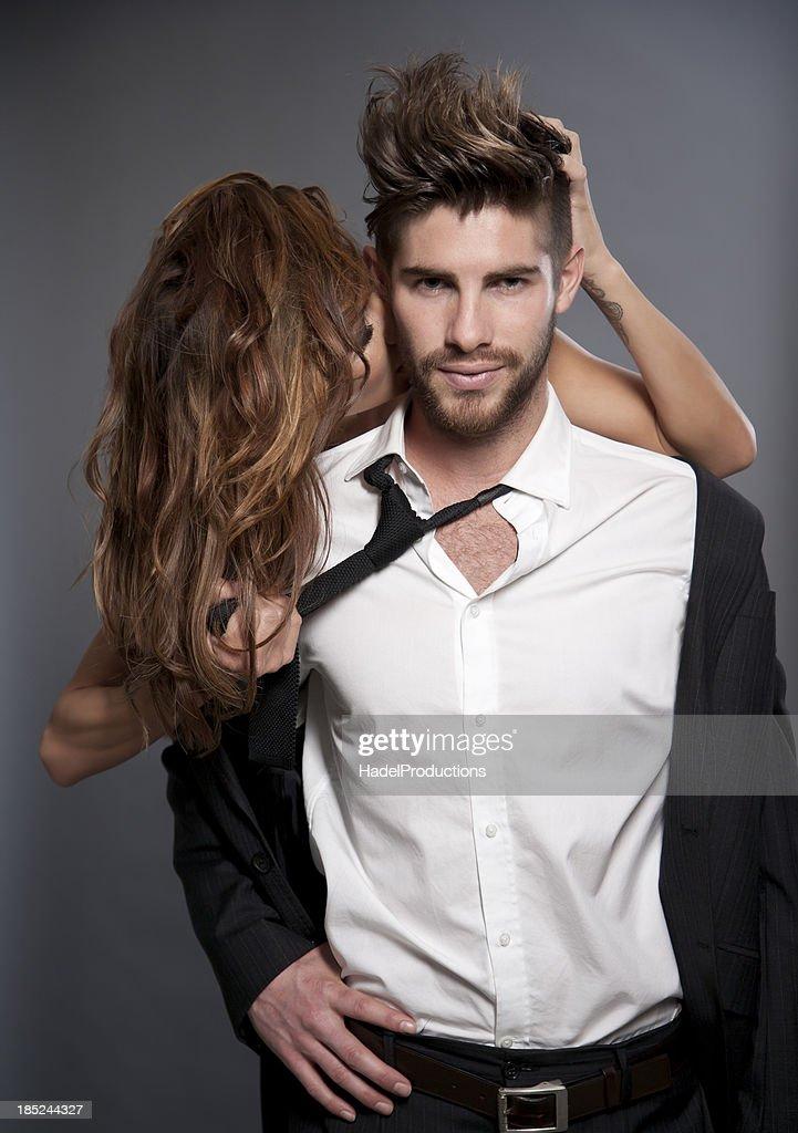 amorous Couple on grey background