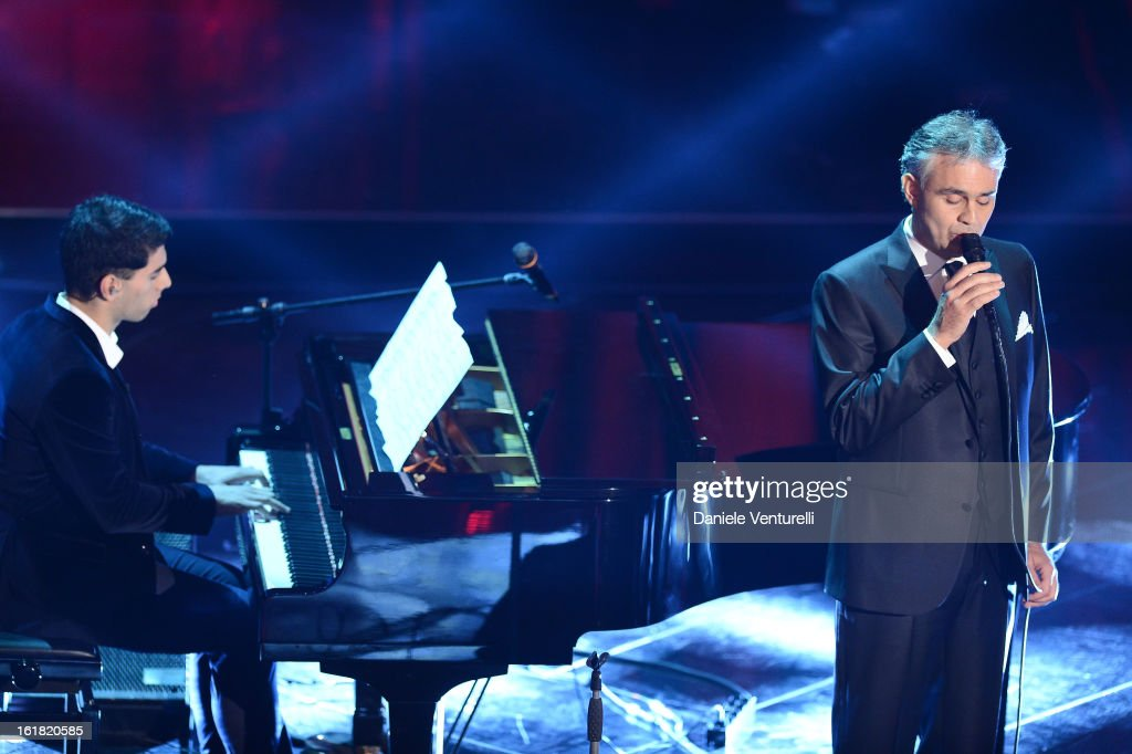 Amos Bocelli and <a gi-track='captionPersonalityLinkClicked' href=/galleries/search?phrase=Andrea+Bocelli&family=editorial&specificpeople=211558 ng-click='$event.stopPropagation()'>Andrea Bocelli</a> attend the closing night of the 63rd Sanremo Song Festival at the Ariston Theatre on February 16, 2013 in Sanremo, Italy.