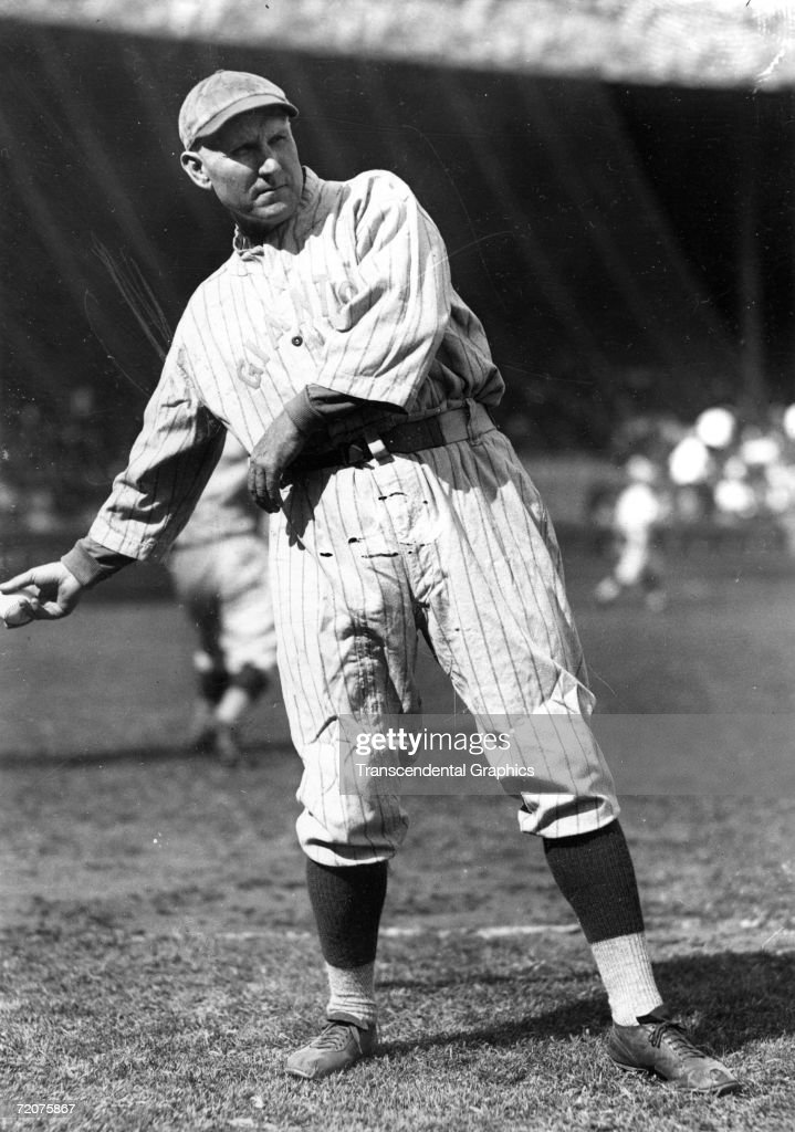 YORK C1893 Amos Rusie pitcher for the New York Giants warms up in the Polo Grounds before a game in the early 1890s