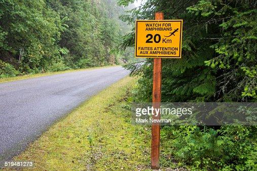 Amphibian road sign