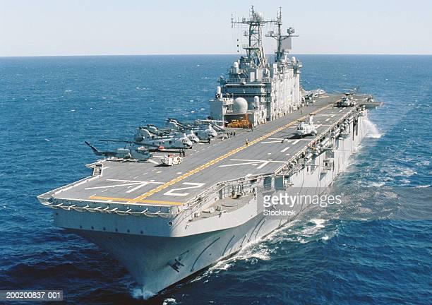 Amphibious assault ship USS Saipan at sea in Atlantic Ocean