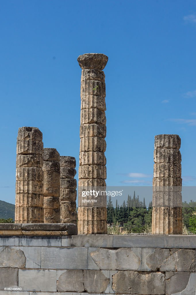 Anfiteatro da antiga Grécia sítio Arqueológico de Delfos, Grécia : Foto de stock