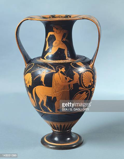 Amphora representing Achilles with the centaur Chiron ca 530510 BC by potter Pamphaios decorated by Nikosthenes redfigure pottery Greek Civilization...
