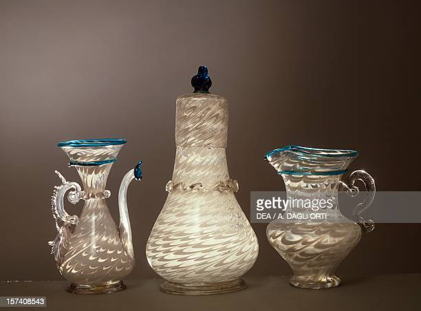 Ampoule bottle and carafe in penne glass Italy 17th century Murano Museo D'Arte Vetraria
