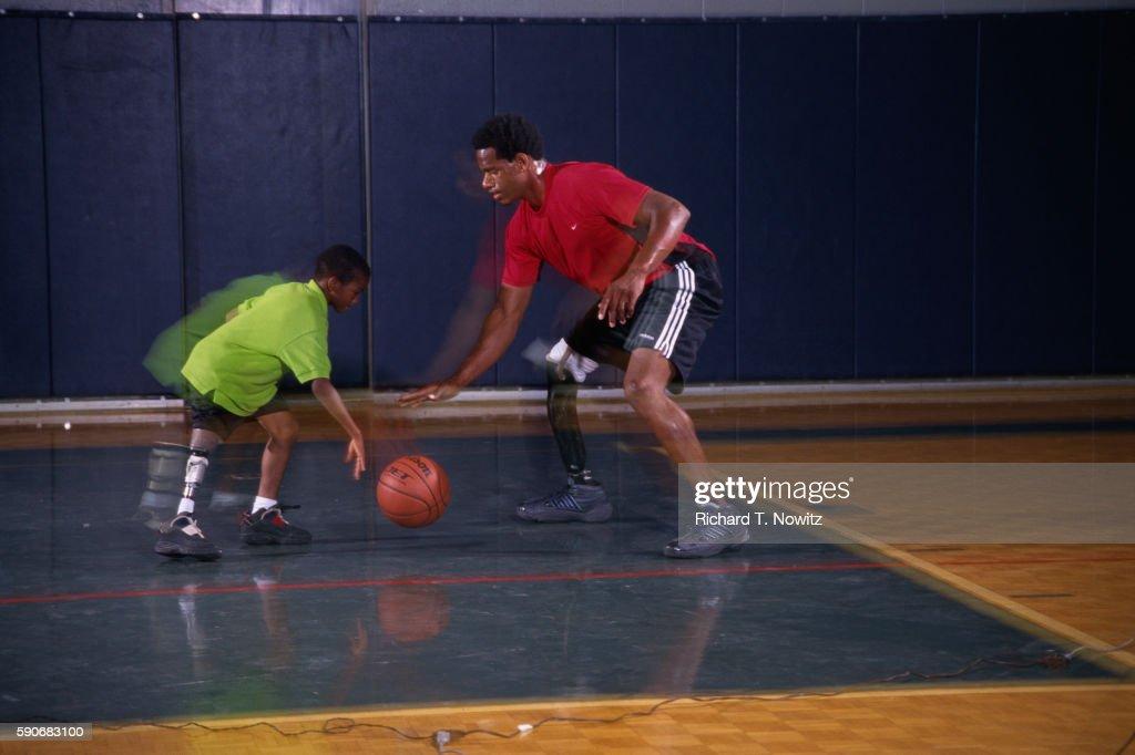 Amputees Playing Basketball : Stock Photo