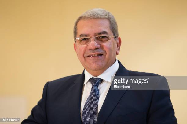 Amr ElGarhy Egypt's finance minister poses for a photograph following a Bloomberg Television interview on the sidelines of the Asian Infrastructure...