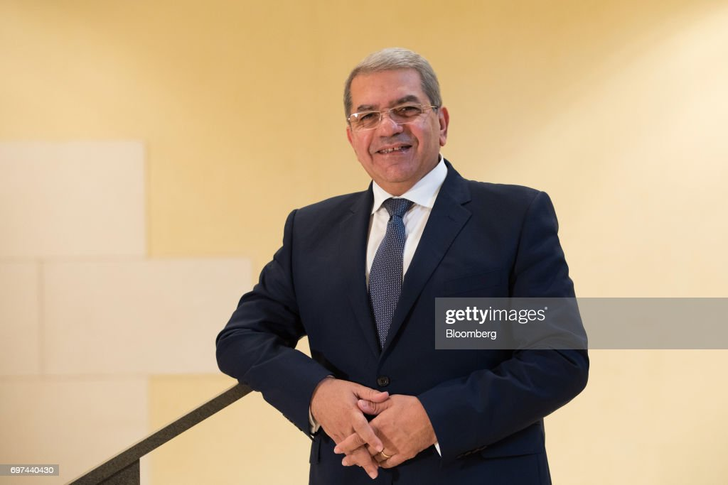 Amr El-Garhy, Egypt's finance minister, poses for a photograph following a Bloomberg Television interview on the sidelines of the Asian Infrastructure Investment Bank (AIIB) annual meeting in Jeju, South Korea, on Friday, June 16, 2017. Egypt's government isn't worried that high interest rates will have a negative impact on economic growth and the budget deficit because rates 'should not stay there in a high level for a long time,' El-Garhy said. Photographer: SeongJoon Cho/Bloomberg via Getty Images